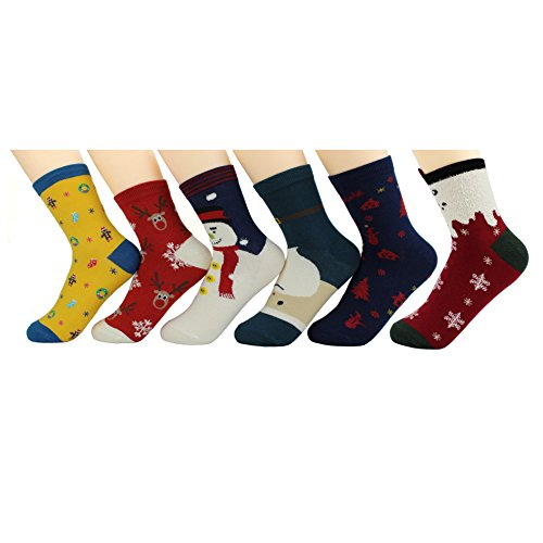 6 Pairs Ankle Crew Christmas Socks, 6 Cute Embroidery/Jacquard/Printed Pattern Cotton Socken, Perfect for Casual Wearing or Xmas Gifts Set, Unisex Young Men/Women/Boys/Girls/Kids UK 1-3/EUR (Mädchen Niedliche Fußball Kostüme)