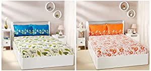 Amazon Brand - Solimo Jasmine Zest 144 TC 100% Cotton Double Bedsheet with 2 Pillow Covers, Peach & Lily Bloom 144 TC 100% Cotton Double Bedsheet with 2 Pillow Covers, Green Combo