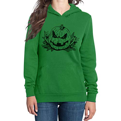 Böses Gruseliges Halloween Kostüm Jack O' Lantern Damen Kapuzenpullover Hoodie Small Grün