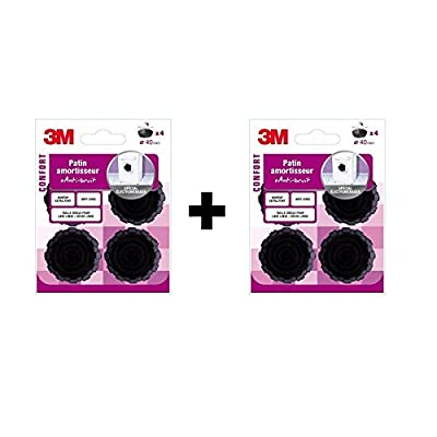 3M–Pack of 8Diameter 40mm Rubber Shock Pads Black Special Electroménager by 3M