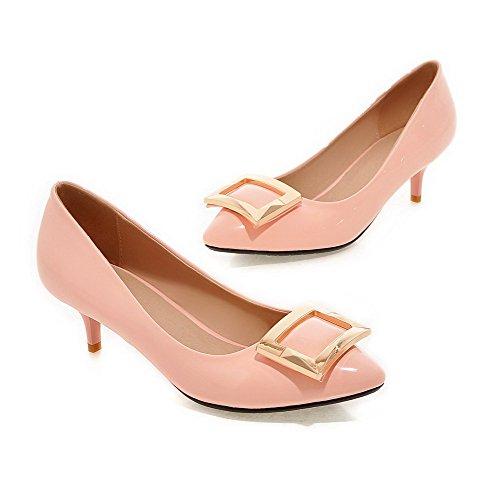 AllhqFashion Damen Mittler Absatz Eingelegt Ziehen Auf Lackleder Spitz Zehe Pumps Schuhe Pink