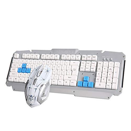 TZX 2.4G Wireless mechanische Tastatur, Gaming-Tastatur und-Maus-Set, geeignet für Familien, Gaming, Notebooks, Büro mit Einer Metallplatte (schwarz/weiß/rot),Silber