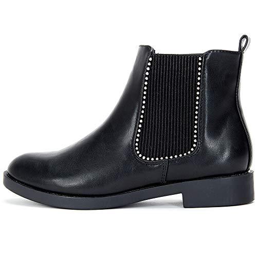 ANJOUFEMME Stivaletti Scarponcini Chelsea in Pelle da Donna - Eleganti Ankle Boots da Donna con Tacco a Blocco 3 CM, Adatto a Tutte Le Stagioni YKM006-BLACK-36