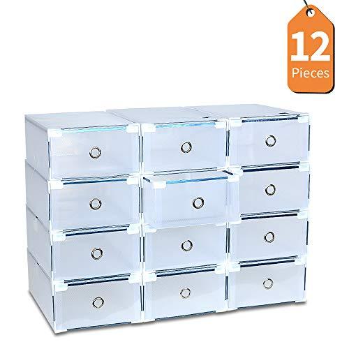 LENTIA Schuhbox transparent aus Polypropylen 10XSchuhkartons wasserdichte aufbewahrungsbox 31 * 20 * 11cm für Männer und Frauen