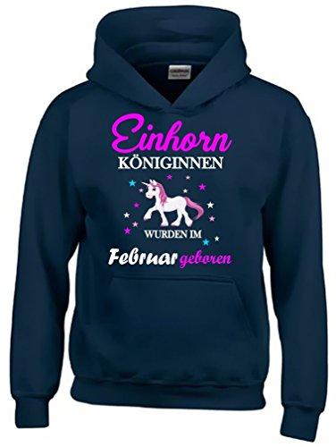 Einhorn Königinnen wurden im Februar geboren ! Unicorn NAVY-HOODIE, Gr.152cm (T-shirt Mädchen Geboren)