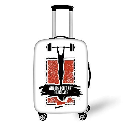 Travel Luggage Cover Suitcase Protector,Fitness,Bodybuilder and Huge Barbell Silhouettes Icon of Posing Athlete Weights Lift Decorative,Red Black White,for TravelM 23.6x31.8Inch -