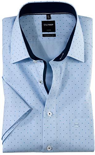 OLYMP Luxor modern fit Hemd Halbarm Muster hellblau Größe 43 -