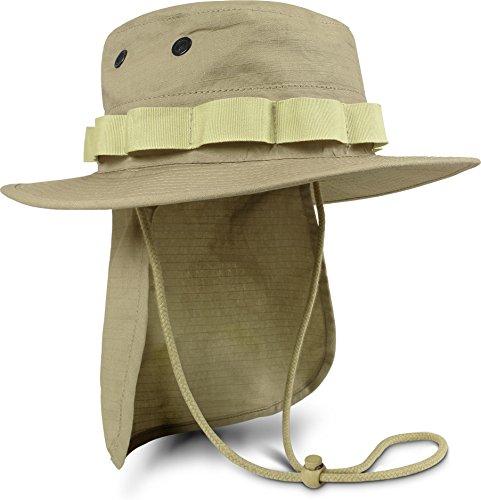 Boonie Hat Krempen Outdoor Hut 'Junglescout' mit abnehmbarem Nackenschutz für den Sommer Farbe Khaki Größe L