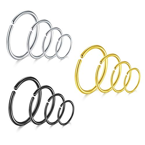 Briana Williams 12pcs Stainless Steel Nose Ring Set 6 / 8 / 10 / 12mm Hoop Lip Tragus Cartilage Helix Piercing Jewelry