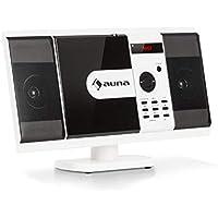 auna MCD-82 BT • Equipo estéreo Vertical • Equipo Compacto • Minicadena • Reproductor de CD y DVD • Bluetooth • USB y SD • Radio FM • HDMI • Blanco