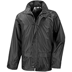 Result - Traje Impermeable /Conjunto Impermeable / chubasquero 2 piezas (conjunto chaqueta y pantalón) (2XL/Negro)