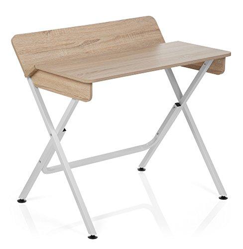 hjh OFFICE 634700 Schreibtisch BERNEO Holz Eiche / Weiß Computer-Tisch (Weißen Schreibtisch Computer)