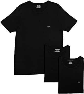 Emporio Armani Intimates Cotton Crew 3 Pack Men's T-Shirt Black Small