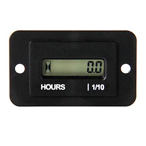 Runleader Digital LCD-Betriebsstundenzähler, DC 4,5 V bis 90 V, Gesamtbetriebsstunden rücksetzbar, Verwendung für ZTR-Rasenmäher, Traktorgenerator (DC 4.5-90V)