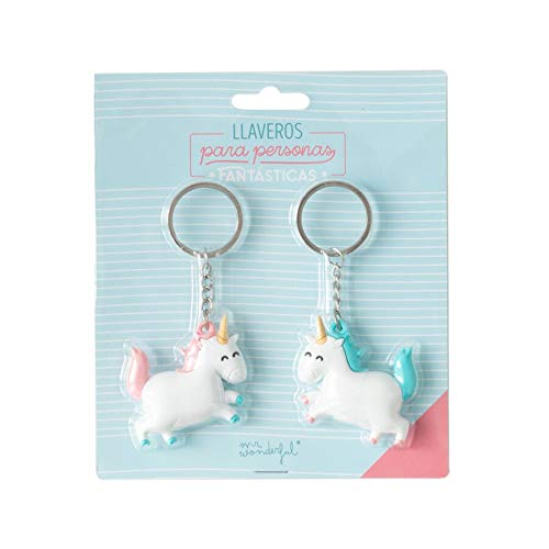 Mr. Wonderful Set de 2 llaveros Unicornio para Personas fantásticas,, 6x7 cm