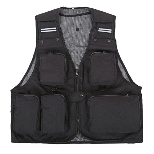 Dooxi Uomo All\'aperto Traspirante Gilet da Pesca Fotografia Multi-Tasche Quick-Dry Gilet Nero XL