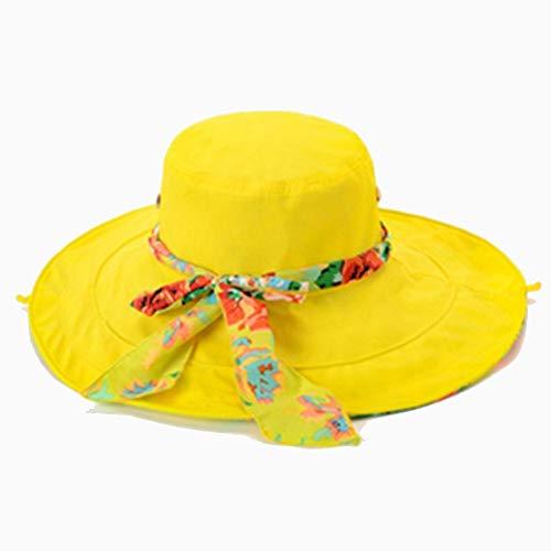 Sonnenhut Hut weiblich Sommer zusammenklappbar große koreanische Welle Flut Sonnenhut Reise Sonnencreme Urlaub am Meer Strand Hut Mehrfarbig optional (Farbe: gelb)