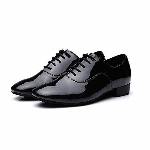 Zapatos de cuero Mqforu de punta redonda para hombre con tacón de 2,50cm y cordones, para baile de salón, latinos, tango, jazz, suela suave, color, talla 41.5