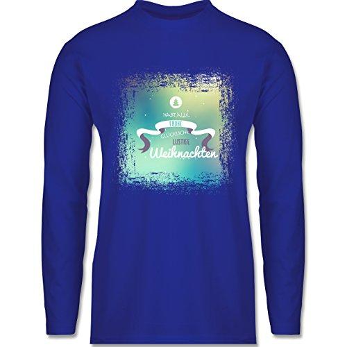 Weihnachten & Silvester - Frohe Weihnachten Bunt Vintage - Longsleeve / langärmeliges T-Shirt für Herren Royalblau
