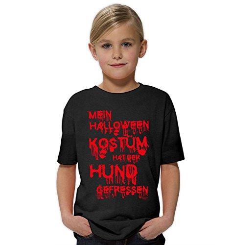 Mein Halloween Kostüm hat der Hund gefressen Lustiges Sprüche-Fun-T-Shirt - Outfit Verkleidung für Kinder Mädchen Teenager Super Geschenk-Idee Farbe: schwarz Gr: 134/146