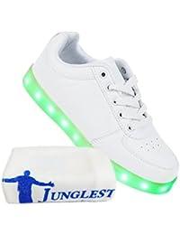 (Present:kleines Handtuch)Weiß 45 Sneakers Neu Light Sport Blinkende Licht Freizeit Farbwechsel High JUNGLEST Damen