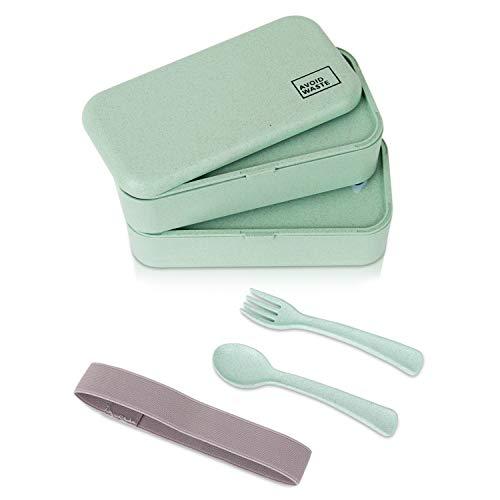 avoid waste Nachhaltige Lunchbox ♻ Die Premium Aufbewahrungsbox mit Deckel und Besteck im Bento-Box Stil mit Zwei Fächern. Biologisch abbaubar, plastikfrei, BPA frei, auslaufsicher - 2
