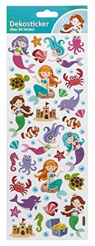 Unbekannt Dekosticker Meerjungfrau, über 50 Sticker Mehrfarbig (Scrapbooking Sticker Meerjungfrau)