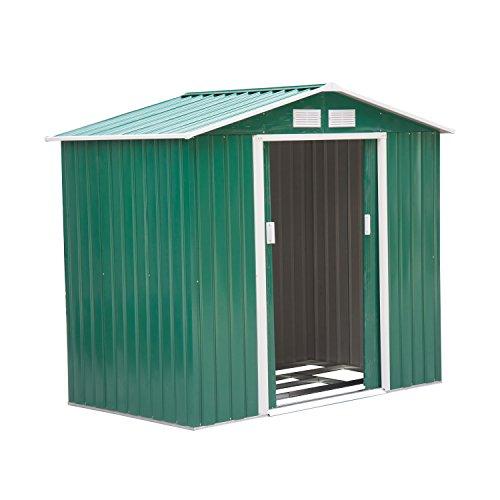 Outsunny cabina casetta da giardino porta utensili in lamiera di ferro, verde, 213x127x185cm