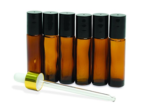 luresity Reisen Rolle auf Flaschen mit Edelstahl Roller-Kugeln 6er Set mit Dropper ideal für ätherische Öle, Parfüm, & anderen Flüssigkeiten -