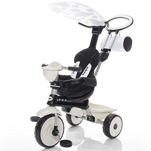 Zopa Kinderdreirad ZooGo - Kinderwagen Dreirad mit Elternlenkung und Ablagekorb - klappbares und abnehmbares Sonnendach, Sicherheitsgurte - für Kinder von 18 bis 72 Monaten - mitwachsend (Cow)