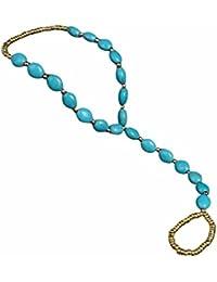 Elegant Blau Türkis Perlen Fußkette flexibel Zehenring Barfuß Sandale Strand Fußkettchen Fußschmuck