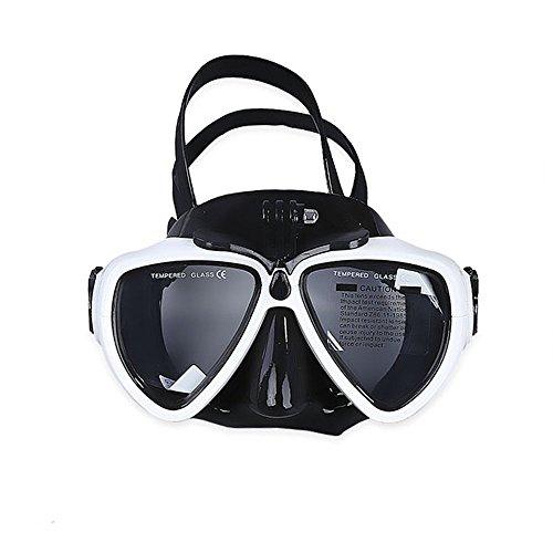 VILISUN - Taucherbrille Erwachsene & Kinder, Anti-Beschlag & Anti-Leck Tauchmaske, Schnorchelbrille mit abnehmbarer Halterung für GoPro Kamera, Schnorchelmaske mit gehärtetem Glas (Weiß)