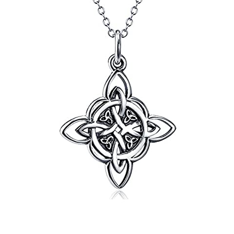 925Sterling Silber Keltisches triquetra Trinity Knoten Viel Glück Anhänger Rolo Kette Halskette, 45,7cm