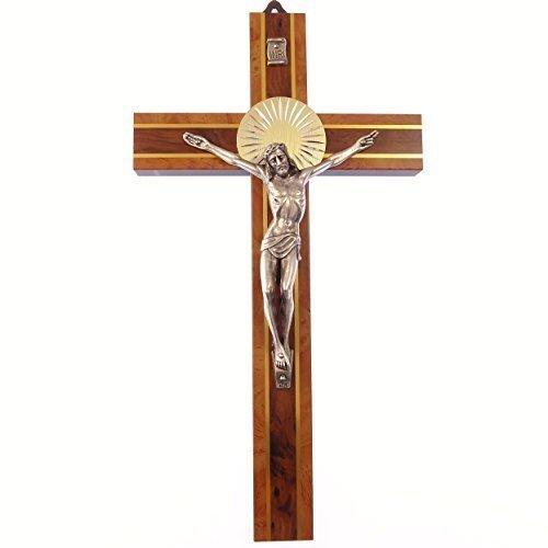 Zwei Ton Wandbehang aus Holz Corpus Kreuz 20,3cm (20cm) Geschenk Metall Holz Kruzifix