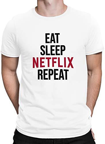 vanVerden Hombres Camiseta Comer Sueño Netflix Repetir, Tamaño:S, Color:Blanco/Negro