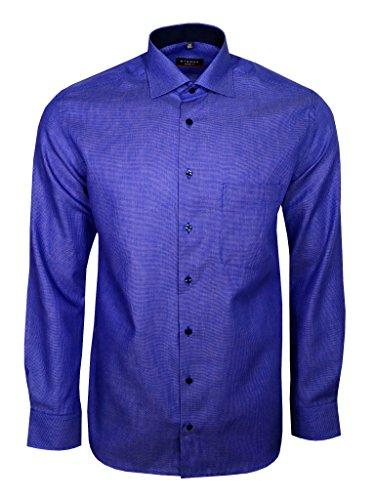 eterna Herren Hemd Langarm Modern Fit Elegantes Business Büro Freizeit Hemden 4254/16/X15K Blau Strukturiert L/42