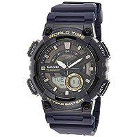 Casio Men's Black Dial Silicone Analog-Digital Watch - AEQ-110W-2AVDF
