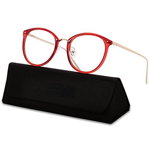 SOJOS Runde Brille Schick Optiker Klar Objektiv Brille Damen SJ5969 mit Rot Rahmen/Gold Bügel