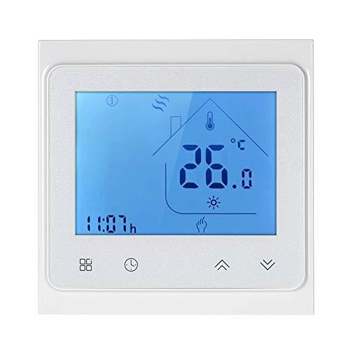 NAttnJf WiFi Regolatore di Temperatura Elettrico LCD Termostato per Riscaldamento a Pavimento con termostato vocale 16A Retroilluminazione Bianca
