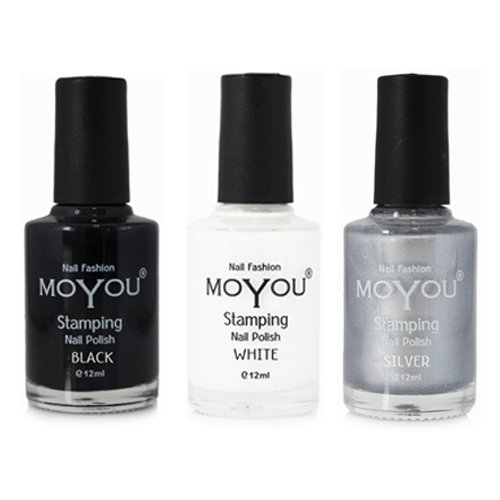 MoYou Nails Bundle of 3 Stamping Nail Polish: Black, Silver and White Colours Used to Create Beautiful Nail Art Designs Sourced Directly from the Manufacturer by MoYou Nails