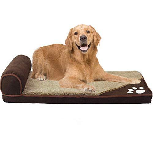 RuiHuang Hundebett Für Große Hunde Pet House Sofa Mat Hundebetten Mit Kissen Zwinger Weiche Decke Kissen Für Große Hunde Braun S 60 cm x 35 cm -