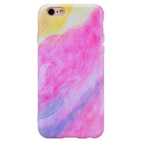 "WE LOVE CASE iPhone 6 / 6s Hülle Marmor FarbeiPhone 6 / 6s 4,7"" Hülle Schutzhülle Handyhülle Weich Silikon Handytasche Ultra Dünn Flexibel Cover Case Etui Soft TPU Handy Tasche Schale Schlank Backcove Pink"