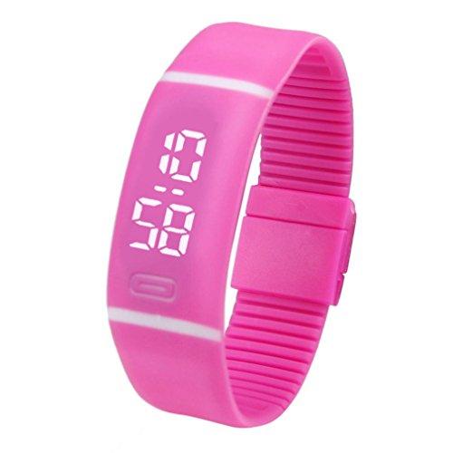 FEITONG Einfach Unisex Gummi LED Uhr Datum Sport Armband Digital Armbanduhr (Heißes Rosa)