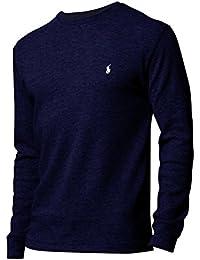 Polo Ralph Lauren Hommes / Garçons à Manches Longues En Tricot Gaufré Thermique T-shirt jour d'usure usure / sommeil Bleu Marine L