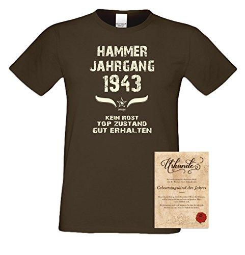 Geschenk zum 74. Geburtstag :-: Geschenkidee Herren kurzarm Geburtstags-T-Shirt mit Jahreszahl :-: Hammer Jahrgang 1943 :-: Geburtstagsgeschenk Männer:-: Farbe: braun Braun