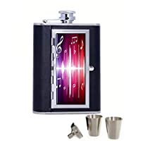 Broderick Colorful Music Notes Wallpaper Hip Flask Portable Stainless Steel And Leather Alcohol Hip Flask with Compartment Cigarette Case Black 6oz Funnel Set includes