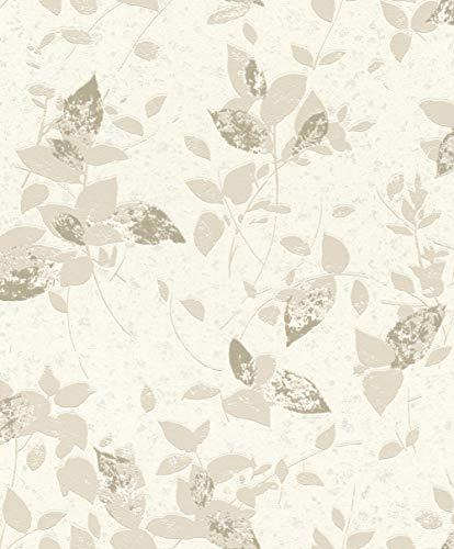 rasch Tapete 402506 aus der Kollektion Uptown - Vliestapete in Creme mit beigen, floralen Mustern - 10,05m x 53cm (L x B) -