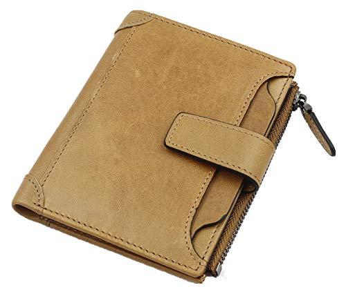 Herren Brieftasche, TiaDoo Ultradünn Geldbeutel Ledergeldbörse Multifunktions Bifold Ausgezeichnete Retro Vertikale Luxus Geldbörse bis zu 12 Karten Slot minimalistischen Zip-Münzfach, Aprikose