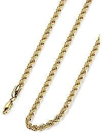 Jstyle Joyas Collar de Acero Inoxidable Mujeres de los Hombres 4MM Cadena Dorado Cuerda Trenzada