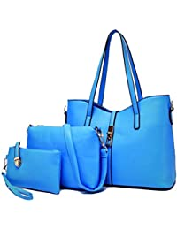 Meet Color Stylish Women Handbag Shoulder Bags Tote Purse Leather Messenger Bag Set Blue